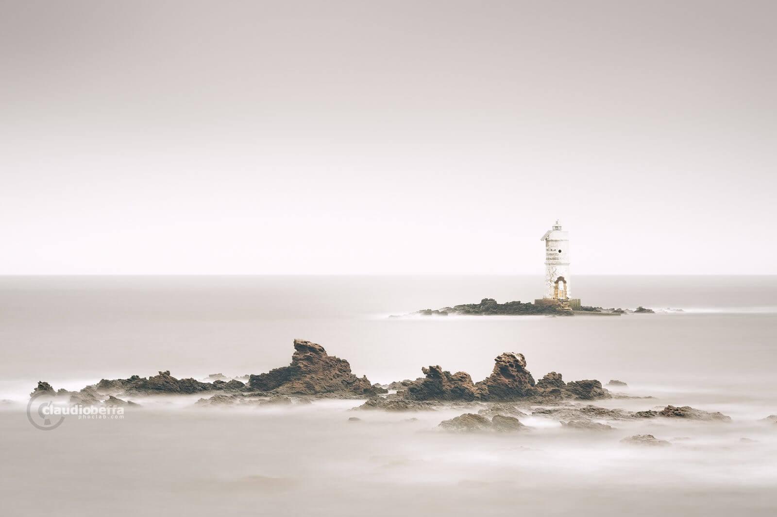 sleeping Boat Eater, Boat Eater, Mangiabarche, lighthouse, rocks, sea, sardinia, italy, long exposure, minimal, minimalist