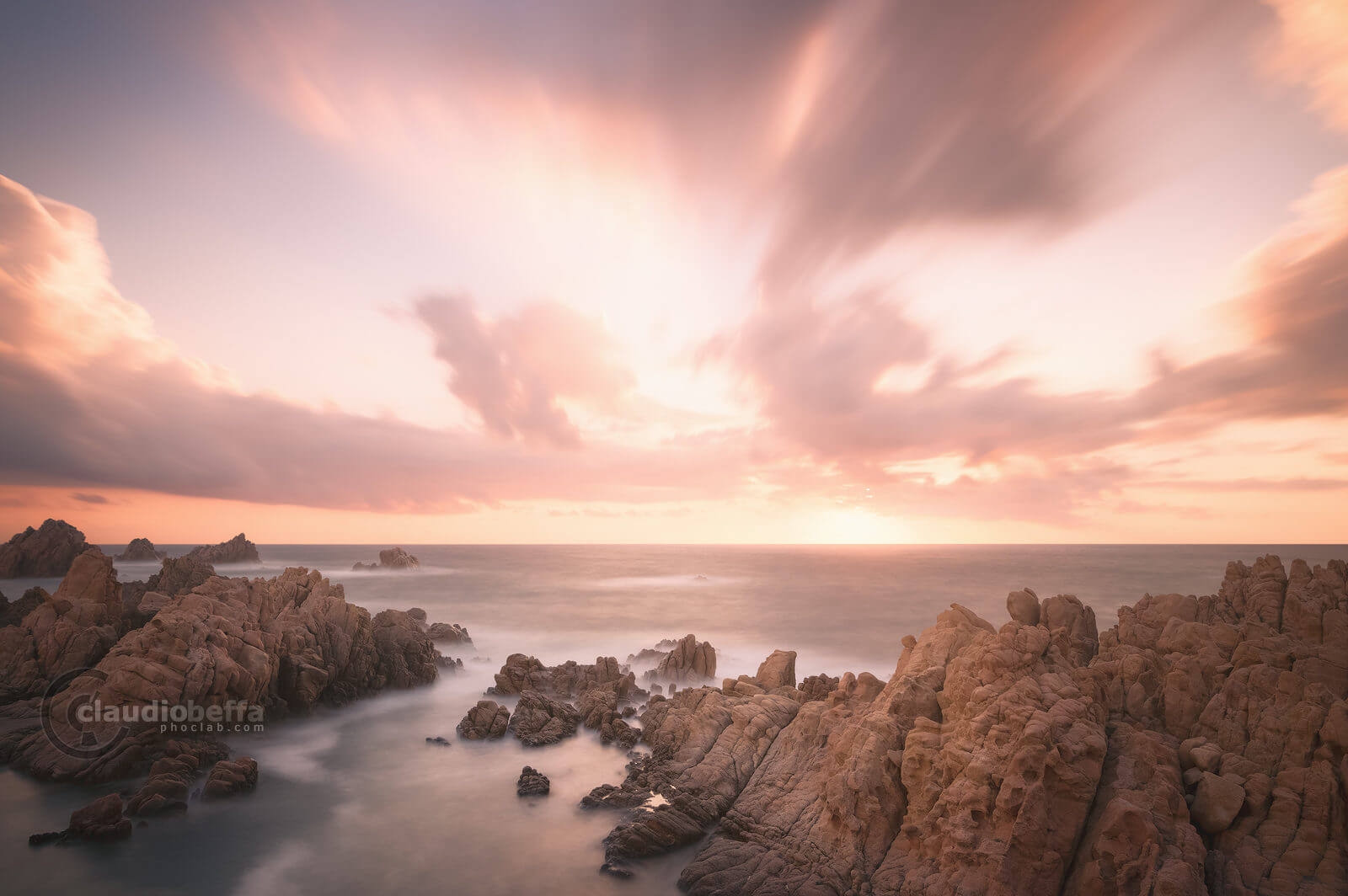 Ancient Paradise, sunset, sea, rocks, sky, clouds, seascape, long exposure, sardinia, italy