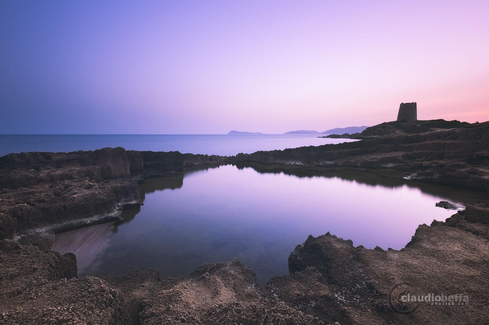 Carved pond, pond, rocks, tower, sea, reflections, sky, twilight, seascape, long exposure