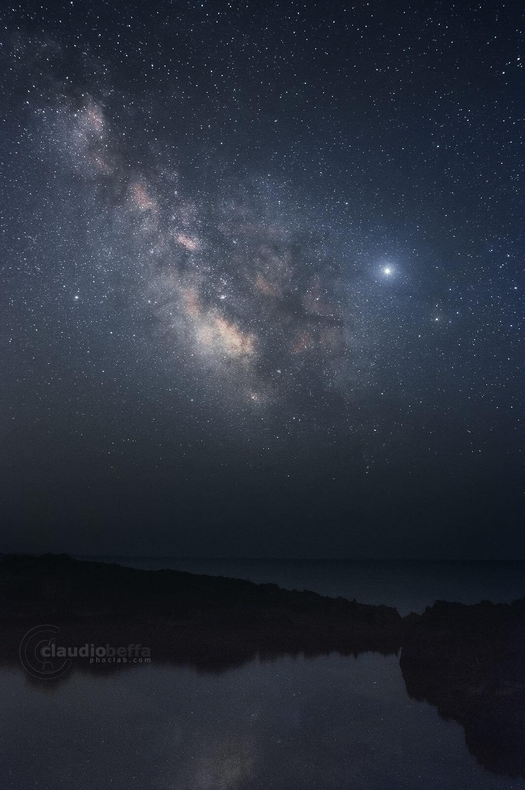 Dark mirror, night, sky, milky way, mirror, water, sea, rocks, astrophotography, seascape