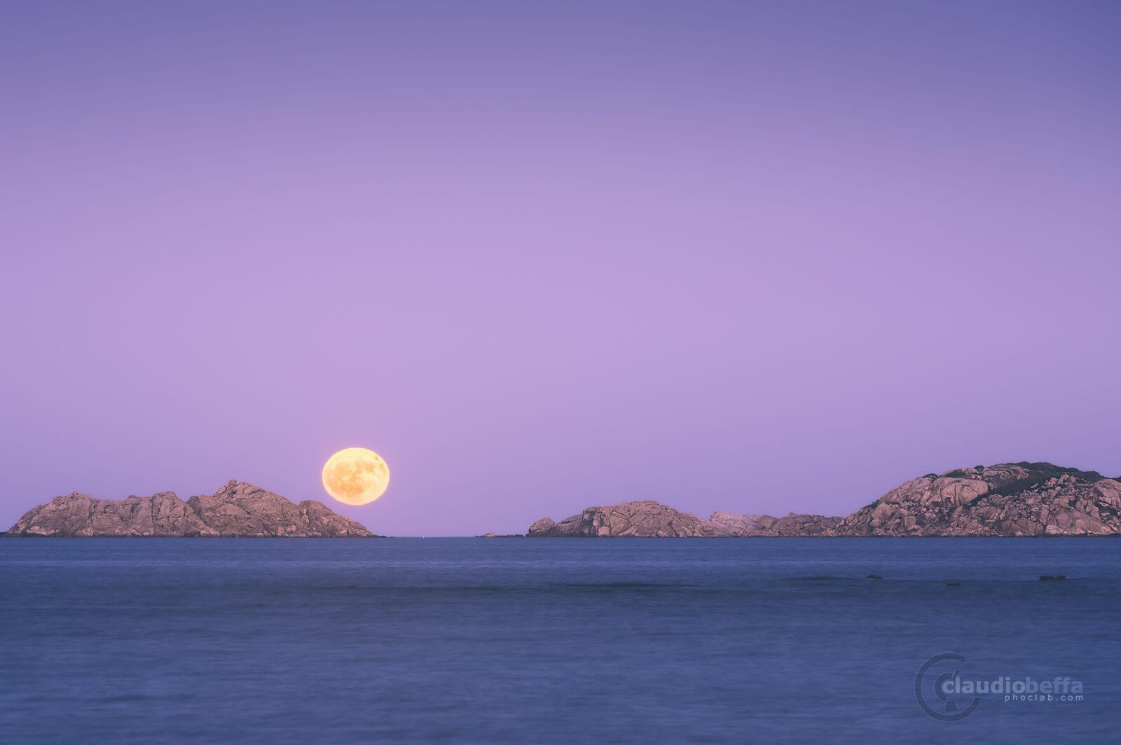 full moon, Serpentara, Sardinia, Italy, twilight, island, sea, moon, seascape