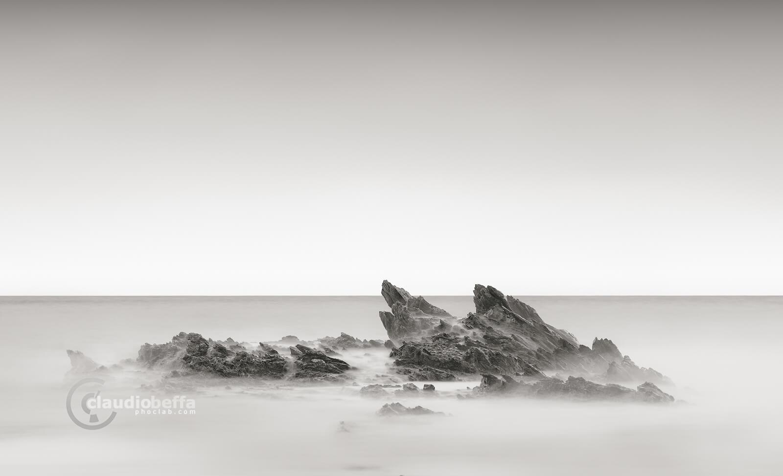 dragon scales, rocks, spikes, sea, waves, sardinia, italy, minimalist, minimal, long exposure, black and white, b&w