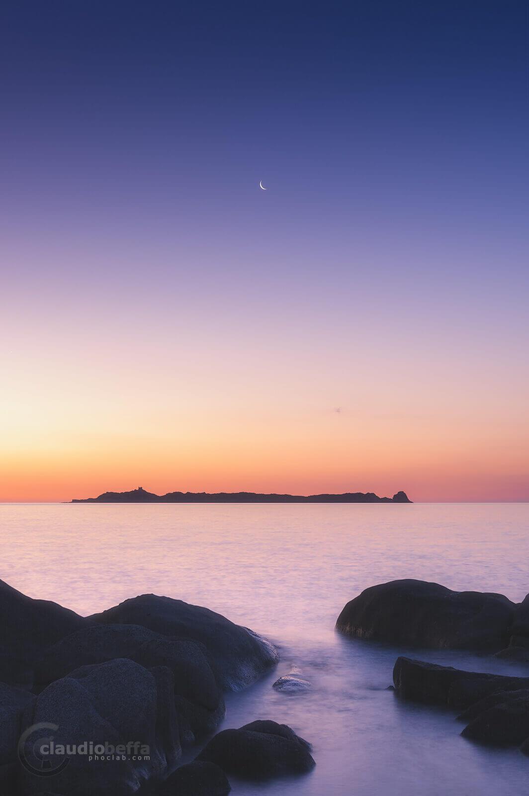 Meet again at dawn, blue hour, dawn, sunrise, island, sea, seascape, moon, serpentara, sardinia, italy