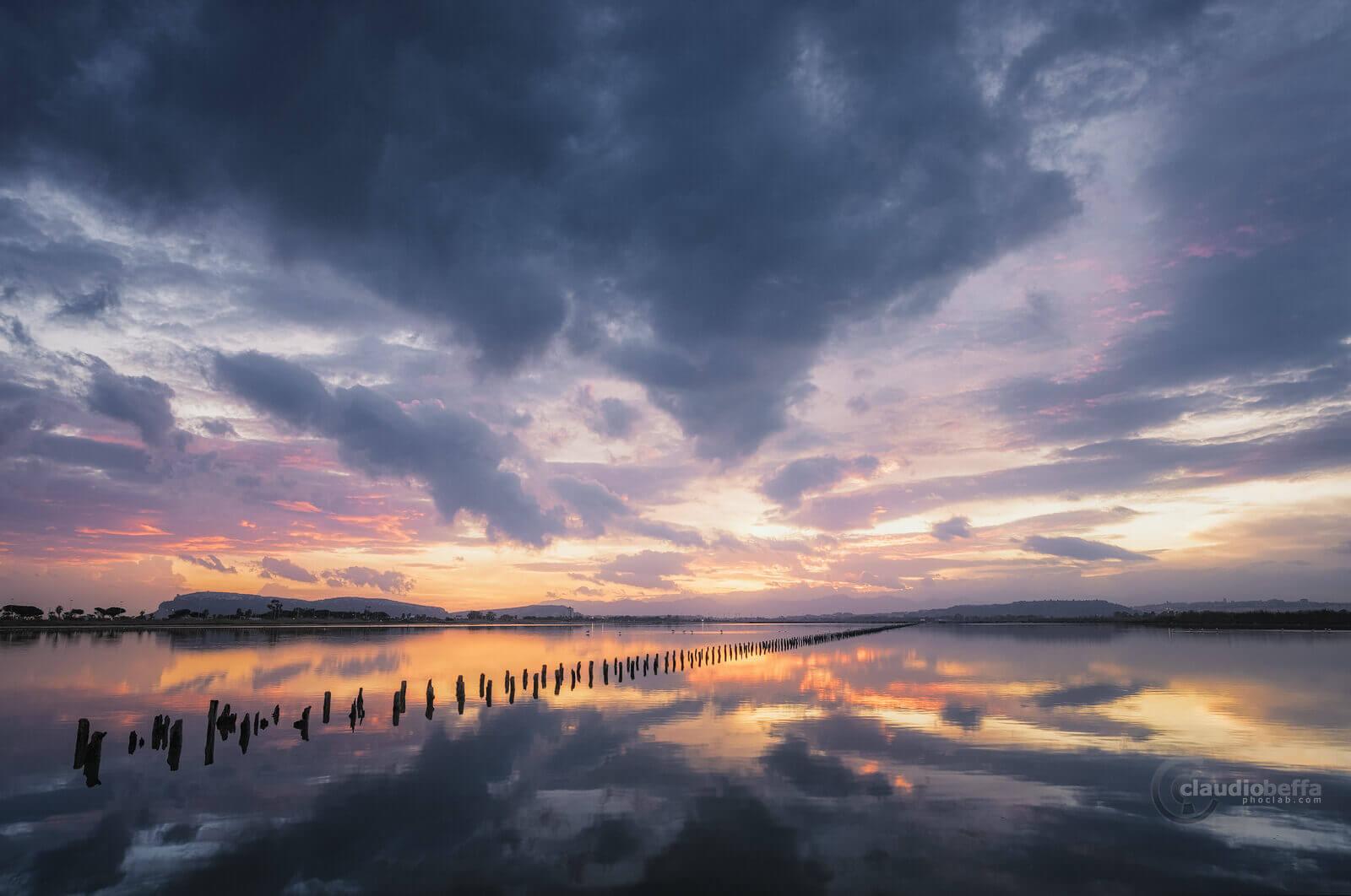 Salar de Cagliari, Salar, sunset, cagliari, sardinia, reflections, salt pond, sky, clouds, landscape