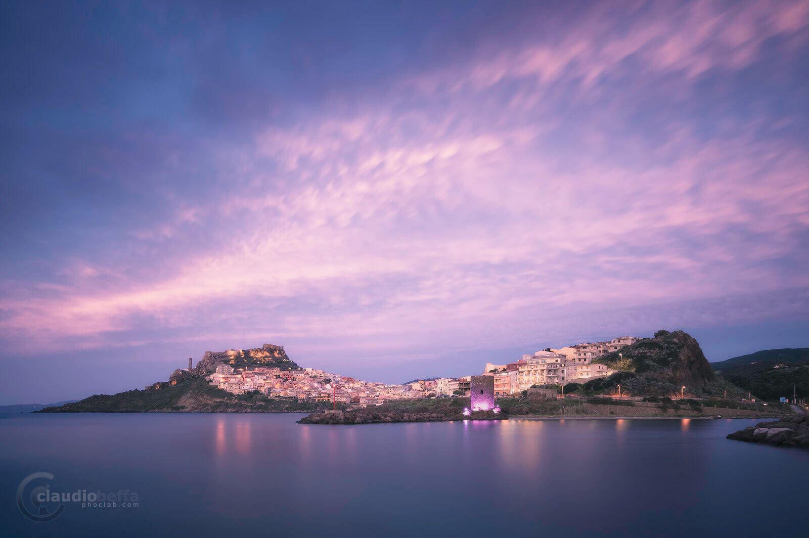 Castelsardo, Sardinia, Italy, Landscape, Seascape, Sunset, Blue hour, Town, Sea, Sky, Clouds