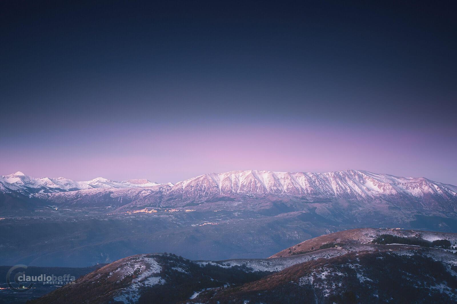 Dawn at high elevation, Abruzzo, Italy, Apennines, Rocca Calascio, Landscape, Twilight, Mountains, Snow, Nature
