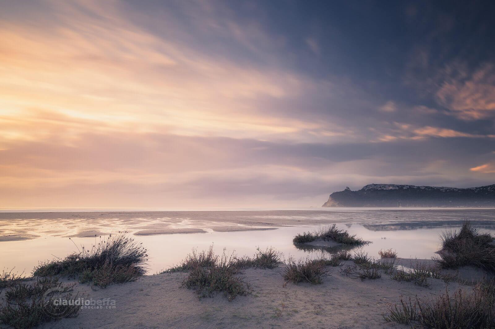 Sunrise on the flooded beach, Cagliari, Poetto, Sardinia, Italy, Landscape, Seascape, Long exposure, Sunrise, Beach, Sky, Clouds