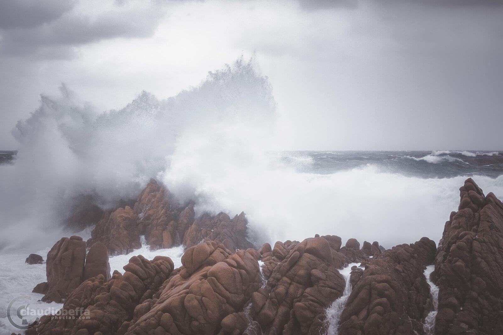 Sardinia, Sardegna, Italy, Sea, Storm, Waves, Rocks, Nature, Landscape, Seascape, Impact III