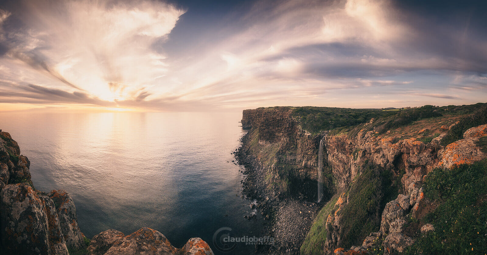 Jump in the sea, sardinia, italy, landscape, seascape, waterfall, cliff, sunset, sea, clouds, panorama