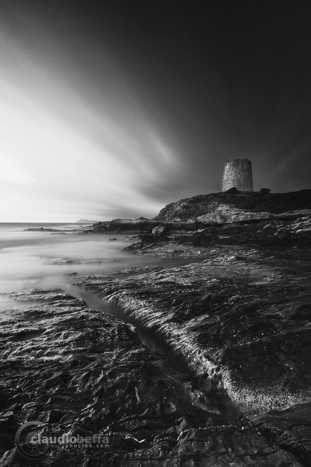 Fracture, landscape ,seascape, rocks, stones,tower, sea, sardinia, italy, long exposure, black and white