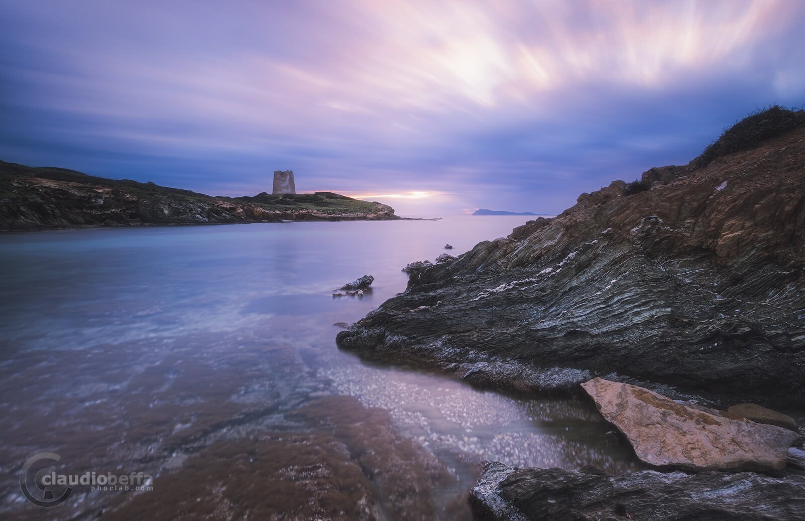 Secret cove, sardinia, italy, landscape, seascape, sea, tower, cove, sunset, blue hour, rocks, transparency, reflections