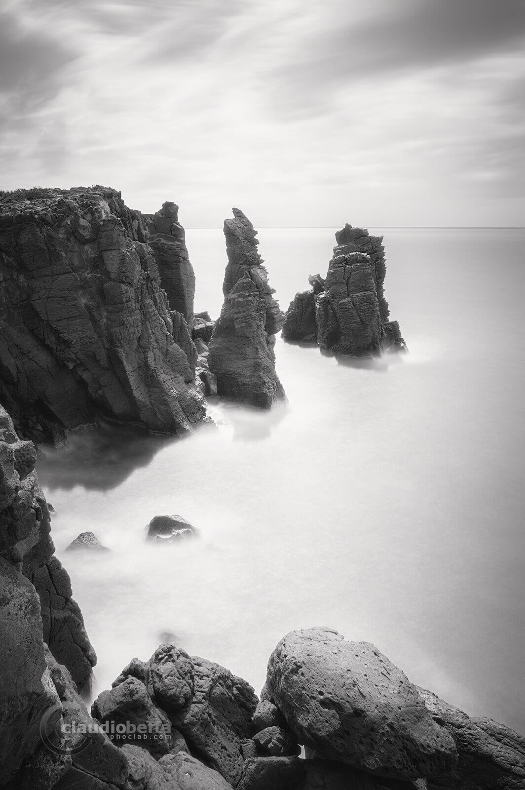 Floating pillars, landscape ,seascape, rocks, stones, pillars, sea, sardinia, italy, long exposure, black and white