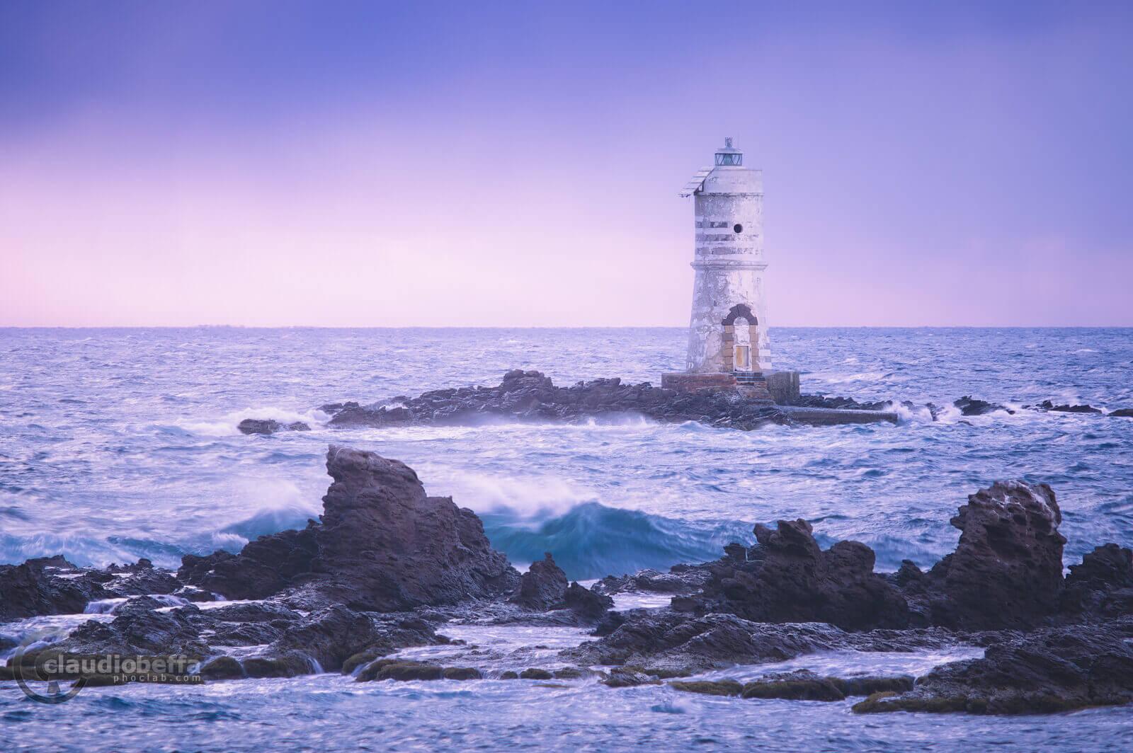 Mangiabarche blue hour, sardinia, italy, landscape, seascape, sea, lighthouse, waves, blue hour, rocks, spikes