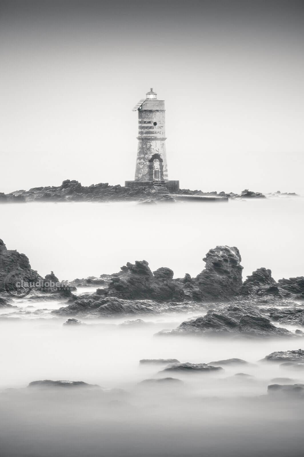 Emerging from the dream, Boat Eater, Mangiabarche, lighthouse, rocks, sea, sardinia, italy, long exposure, minimal, minimalist