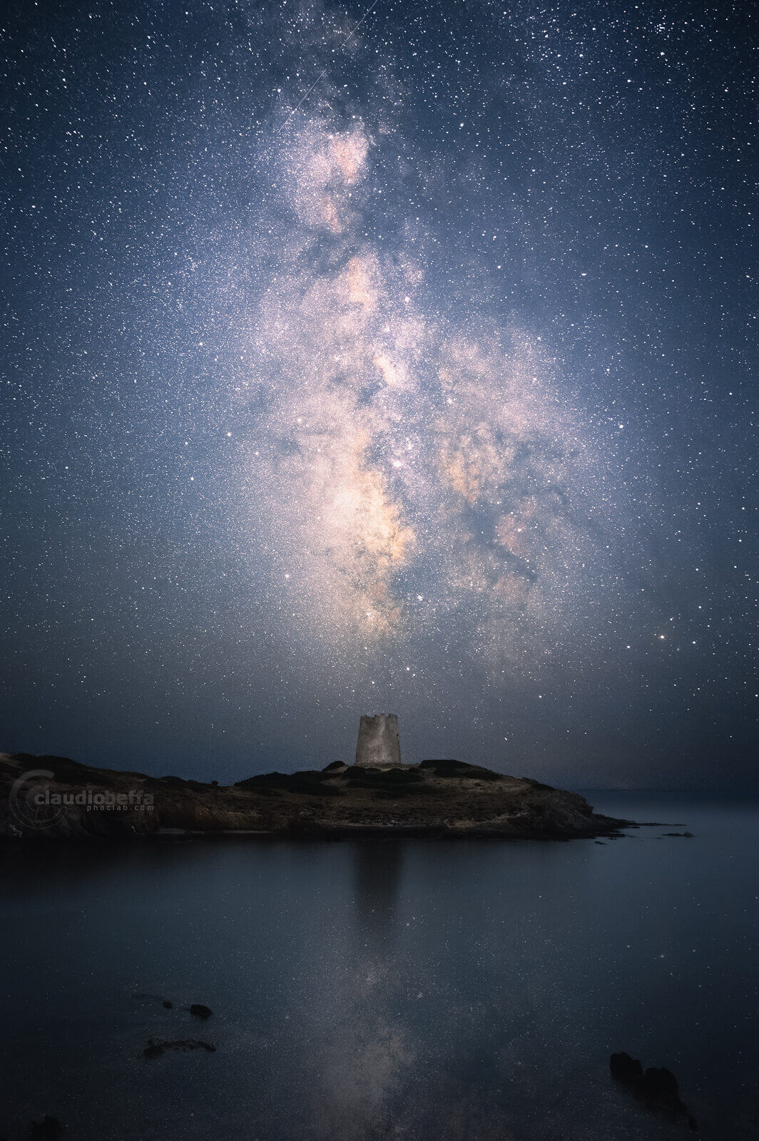 cosmos, watchtower, astrophotography, milky way, night, stars, sea, tower, sky, reflections, seascape, sardinia, italy, nature