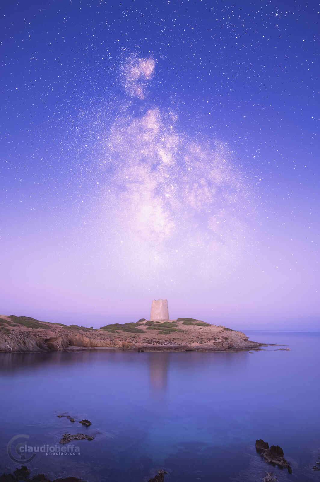 Gate to the other side, watchtower, astrophotography, milky way, night, stars, sea, tower, sky, reflections, seascape, sardinia, italy, nature, blue hour, sunrise